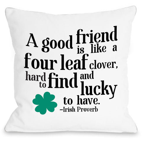 """Irish Proverb Clover"" Indoor Throw Pillow by OneBellaCasa, Green, 16""x16"""