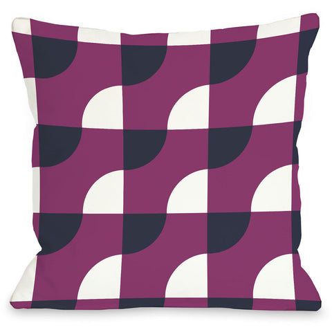 """Janelle Geometric"" Outdoor Throw Pillow by OneBellaCasa, Fuchsia, 16""x16"""