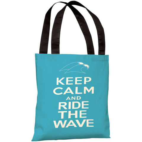"""Keep Calm And Ride The Wave"" 18""x18"" Tote Bag by OneBellaCasa"