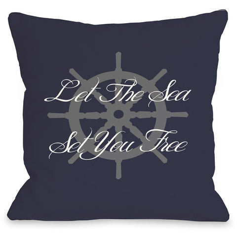 """Let The Sea Set You Free"" Outdoor Throw Pillow by OneBellaCasa, 16""x16"""