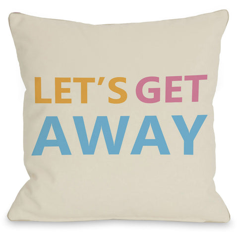 """Let's Get Away"" Outdoor Throw Pillow by OneBellaCasa, 16""x16"""