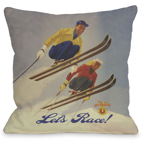 """Let's Race"" Indoor Throw Pillow by OneBellaCasa, 16""x16"""