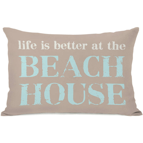 """Summer Text"" Outdoor Throw Pillow by OneBellaCasa, 14""x20"""