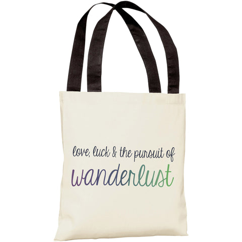 "Love, Luck & The Pursuit of Wanderlust"" 18""x18"" Tote Bag by OneBellaCasa"