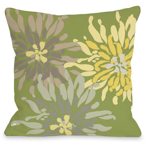 """Lowell Floral"" Outdoor Throw Pillow by OneBellaCasa, Green, 16""x16"""