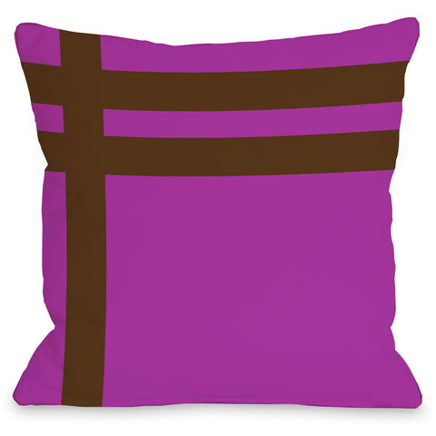 """Meet Stripes"" Indoor Throw Pillow by OneBellaCasa, Fuchsia/Brown, 16""x16"""