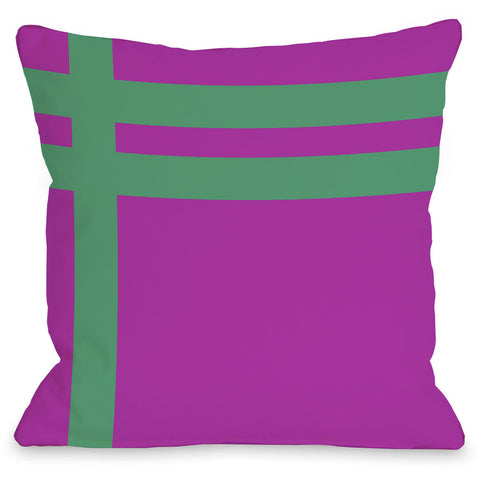"""Meet Stripes"" Outdoor Throw Pillow by OneBellaCasa, Fuchsia/Brown, 16""x16"""