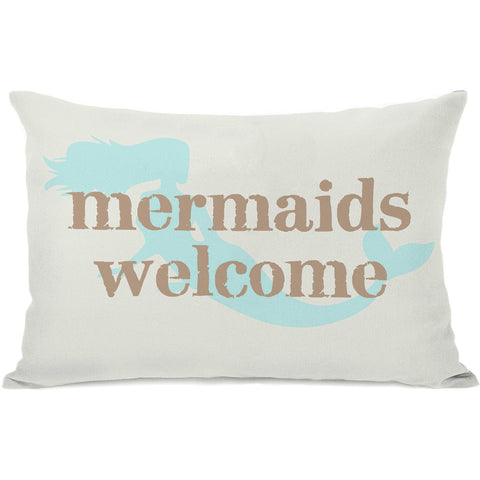 """Mermaids Welcome"" Outdoor Throw Pillow by OneBellaCasa, 14""x20"""