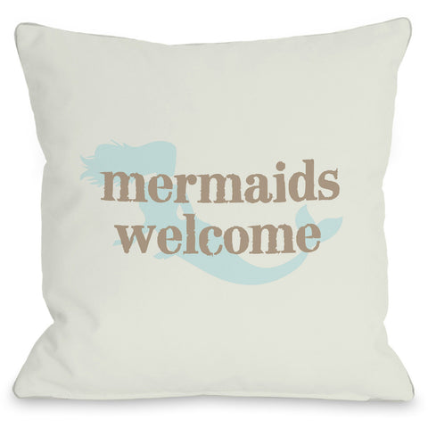 """Mermaids Welcome"" Outdoor Throw Pillow by OneBellaCasa, 16""x16"""