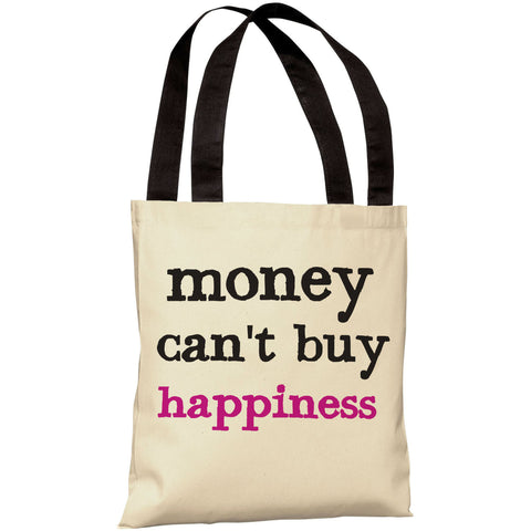 """Money Can't/Can Buy Happiness"" Reversible 18""x18"" Tote Bag by OneBellaCasa"