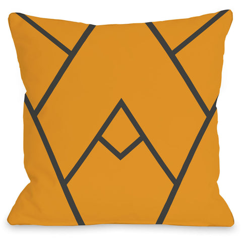 """Mountain Peak"" Outdoor Throw Pillow by OneBellaCasa, Green, 16""x16"""