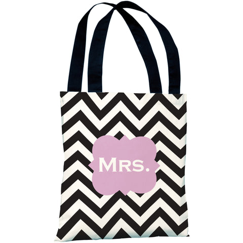 """Mrs. Chevron"" 18""x18"" Tote Bag by OneBellaCasa"