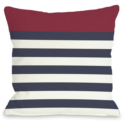 """Nautical Stripes"" Outdoor Throw Pillow by OneBellaCasa, Red, 16""x16"""