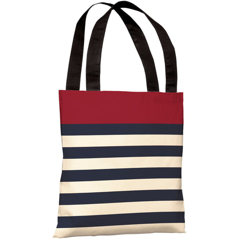 """Nautical Stripes"" 18""x18"" Tote Bag by OneBellaCasa, Red"