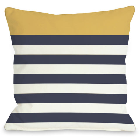 """Nautical Stripes"" Indoor Throw Pillow by OneBellaCasa, Red, 16""x16"""