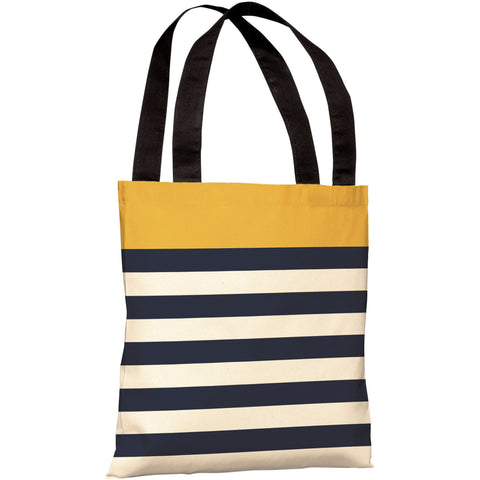 """Nautical Stripes"" 18""x18"" Tote Bag by OneBellaCasa, Mimosa"