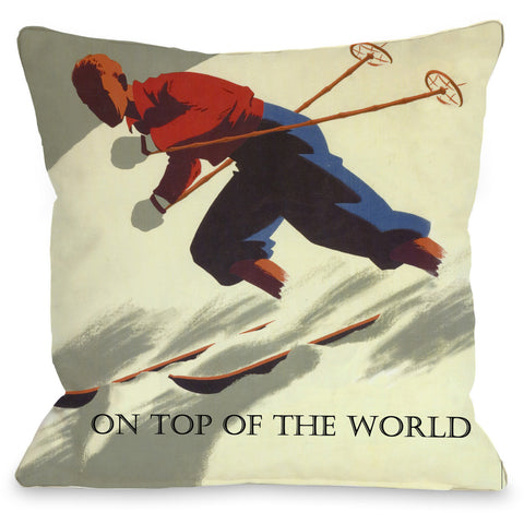 """On Top Of The World"" Indoor Throw Pillow by OneBellaCasa, 16""x16"""