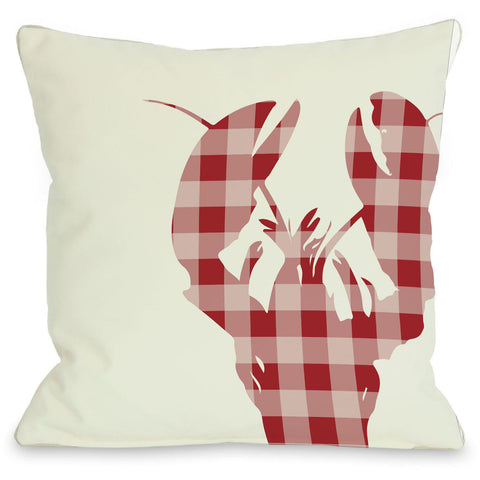 """Plaid Lobster"" Outdoor Throw Pillow by OneBellaCasa, 16""x16"""