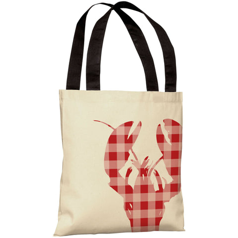 """Plaid Lobster"" 18""x18"" Tote Bag by OneBellaCasa"