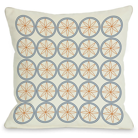 """Circles & Flowers"" Outdoor Throw Pillow by OneBellaCasa, Green, 16""x16"""