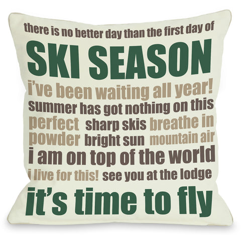 """Ski Season Words"" Indoor Throw Pillow by OneBellaCasa, 16""x16"""