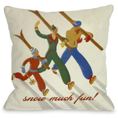 """Snow Much Fun"" Indoor Throw Pillow by OneBellaCasa, 16""x16"""