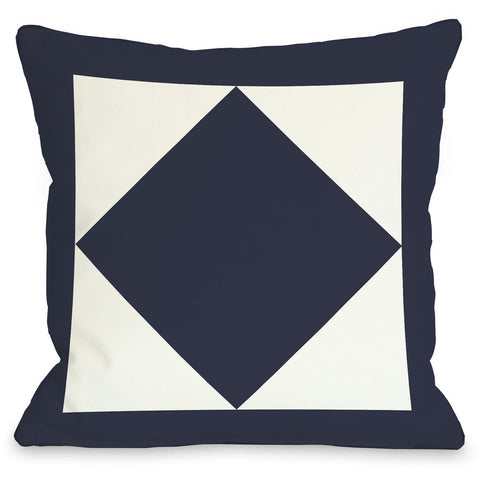 """Square & Diamond"" Indoor Throw Pillow by OneBellaCasa, Navy, 16""x16"""