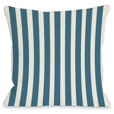 """Stripes"" Outdoor Throw Pillow by OneBellaCasa, Blue Green, 16""x16"""