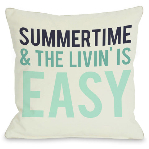 """Summertime & The Livin' is Easy"" Indoor Throw Pillow by OneBellaCasa, 16""x16"""
