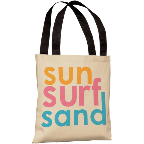 """Sun Surf Sand"" 18""x18"" Tote Bag by OneBellaCasa"