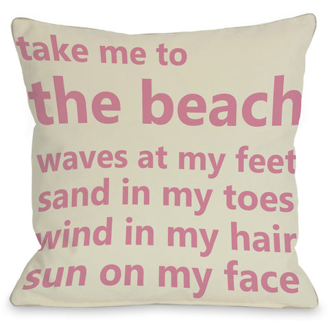 """Take Me To The Beach"" Outdoor Throw Pillow by OneBellaCasa, 16""x16"""