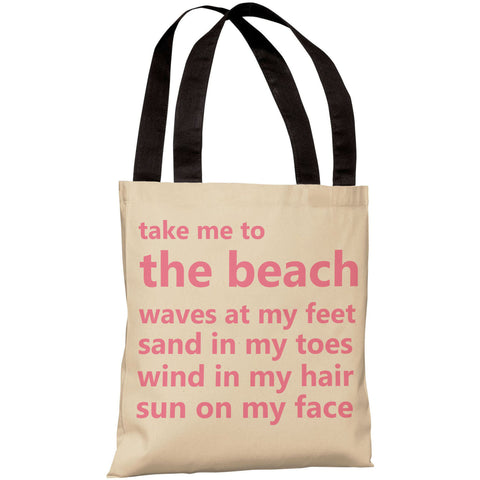 """Take Me To The Beach"" 18""x18"" Tote Bag by OneBellaCasa"