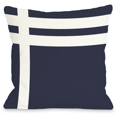 """Three Lines"" Outdoor Throw Pillow by OneBellaCasa, Navy/White, 16""x16"""