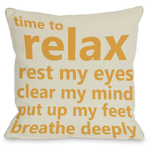 """Time To Relax"" Indoor Throw Pillow by OneBellaCasa, 16""x16"""