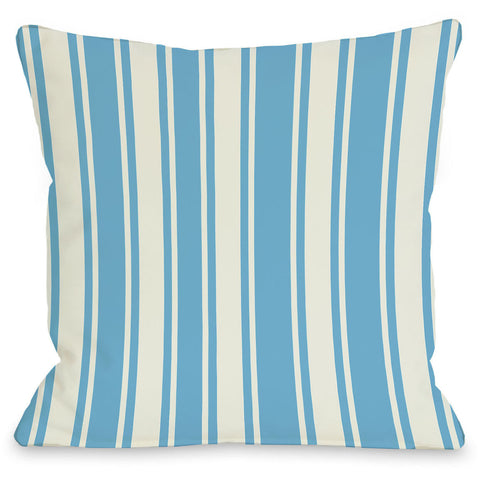 """Tri-Stripes"" Outdoor Throw Pillow by OneBellaCasa, Aqua/Ivory, 16""x16"""