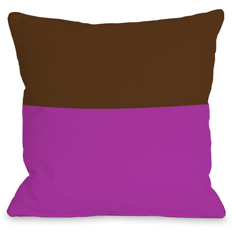 """Two Tone"" Outdoor Throw Pillow by OneBellaCasa, Fuchsia/Blue, 16""x16"""