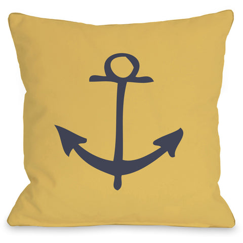 """Vintage Anchor"" Outdoor Throw Pillow by OneBellaCasa, 16""x16"""