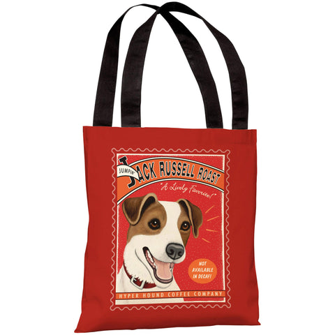 """Jack Russell Roast Coffee"" 18""x18"" Tote Bag by Retro Pets"