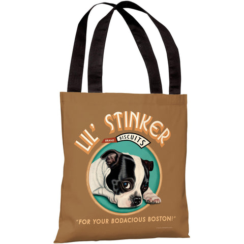"""Lil Stinker Biscuits"" 18""x18"" Tote Bag by Retro Pets"