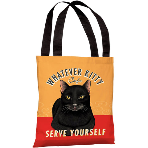 """Whatever Kitty Cafe"" 18""x18"" Tote Bag by Retro Pets"