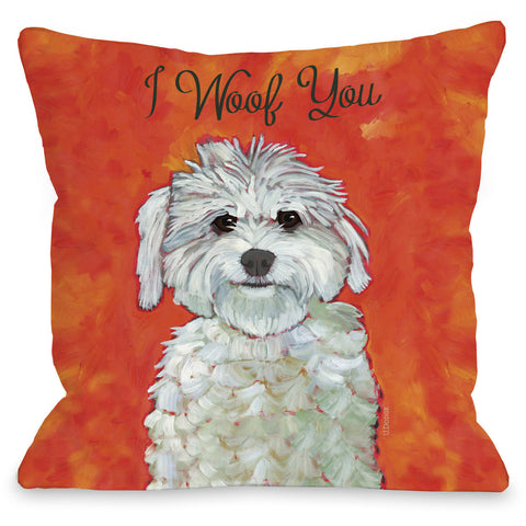 """I Woof You"" Indoor Throw Pillow by Ursula Dodge, 16""x16"""