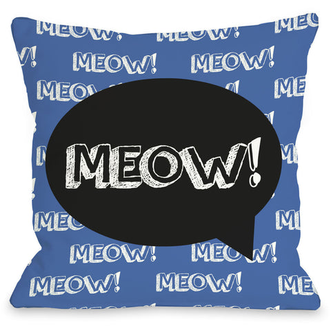 """Meow Talk Bubble"" Indoor Throw Pillow by OneBellaCasa, 16""x16"""