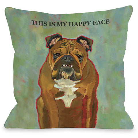 """This Is My Happy Face"" Indoor Throw Pillow by Ursula Dodge, 16""x16"""