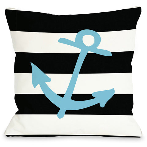 """Striped Anchor"" Indoor Throw Pillow by OneBellaCasa, Neon Pink, 16""x16"""