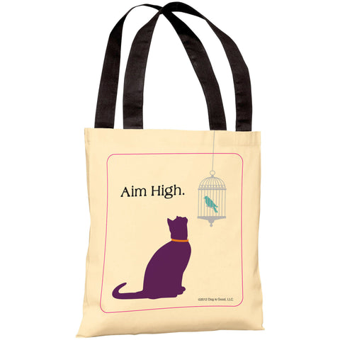 """Aim High Cat"" 18""x18"" Tote Bag by Dog is Good"