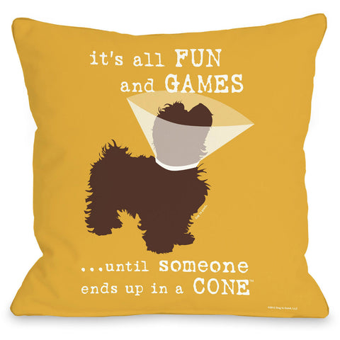 """All Fun And Games..."" Indoor Throw Pillow by Dog is Good, 16""x16"""