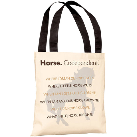 """Horse. Codependent"" 18""x18"" Tote Bag by Dog is Good"