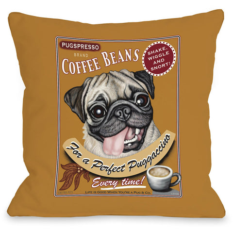 """Puggaccino"" Indoor Throw Pillow by Retro Pets, 16""x16"""