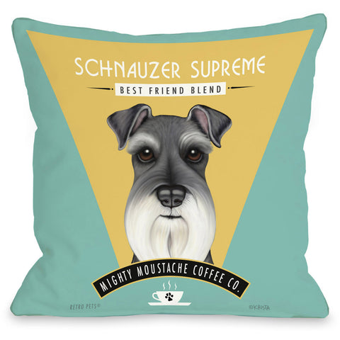 """Schnauzer Supreme Blend"" Indoor Throw Pillow by Retro Pets, 16""x16"""