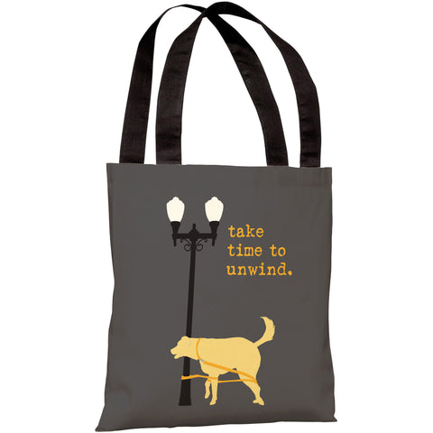 """Take Time To Unwind Dog"" 18""x18"" Tote Bag by Dog is Good"